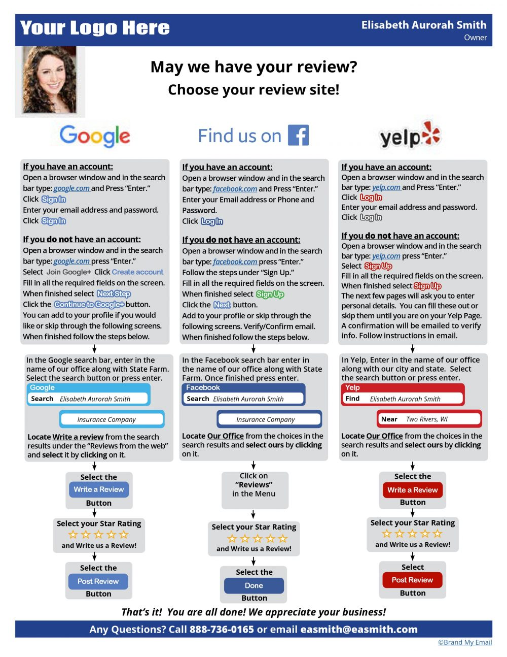 Google, Facebook, and Yelp Review Guides - Brand My Email